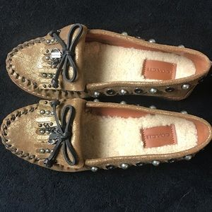 Coach Roccasin Studded Gold Moccasins